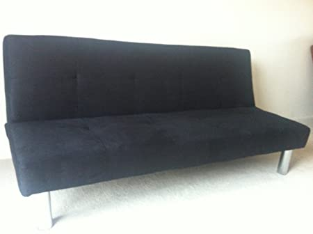 Surprising Faux Suede Sofa Bed With Chrome Legs Available In Black And Brown Click Clack 3 Positions Black Suede Pabps2019 Chair Design Images Pabps2019Com