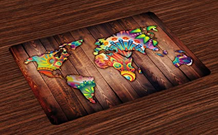 Amazon.com: Ambesonne Floral World Map Place Mats Set of 4, World ...
