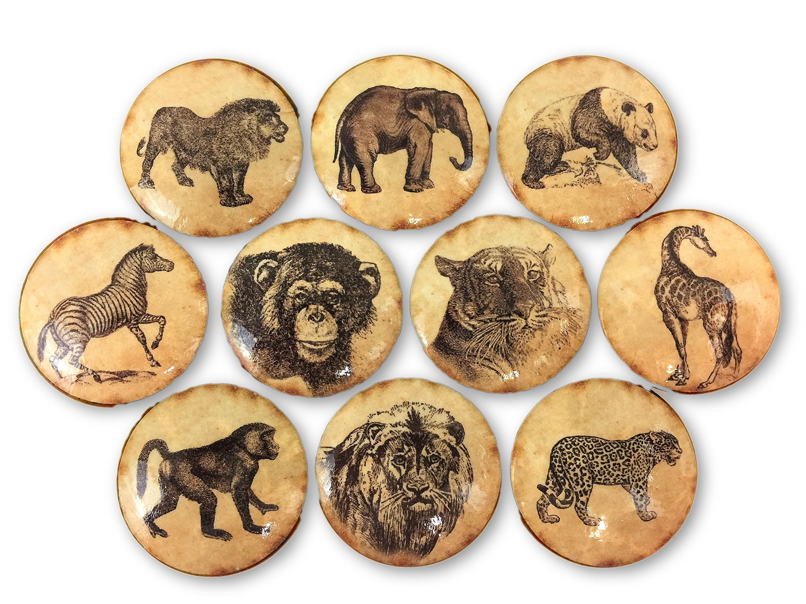 Set of 10 Vintage Safari Animals Print Wood Cabinet Knobs by Twisted R Design
