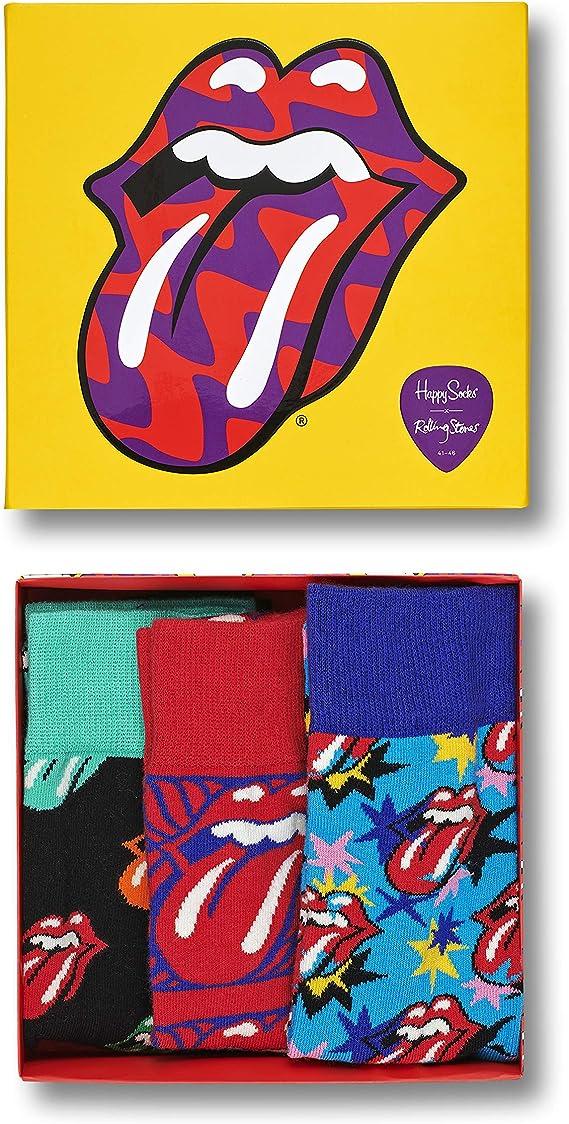 Happy Socks 3-Pack LINGUA ROLLING STONES leggendario Logo Calzini Regalo
