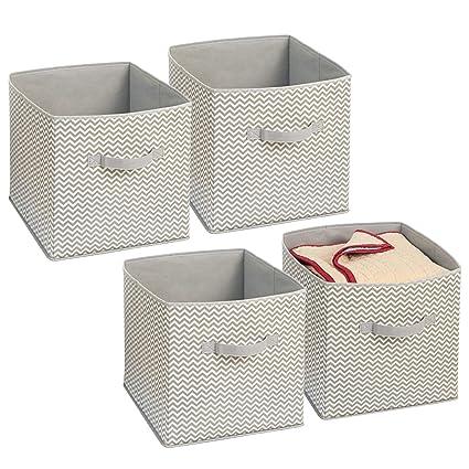 mDesign Juego de 4 cajas organizadoras en tela - Organizadores para armarios - Caja para organizar