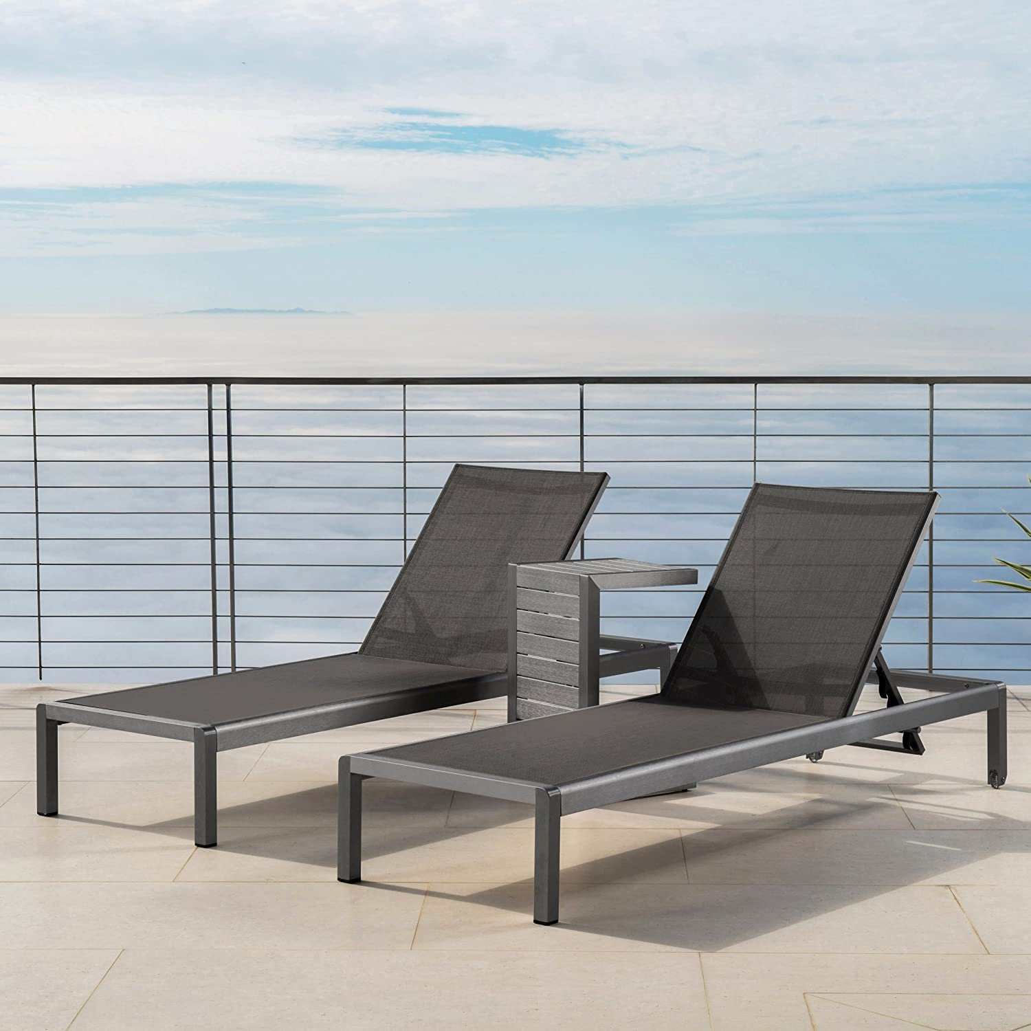 Christopher Knight Home 301807 Coral Bay Outdoor Grey Aluminum Chaise Lounge and C-Shaped Side Table, Dark