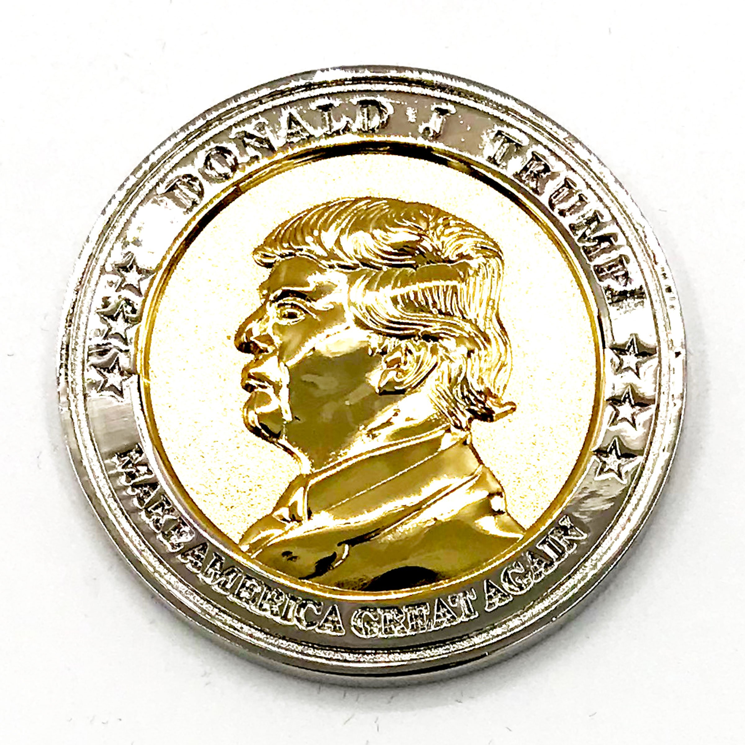 Trump Coin, 58th Presidential Inauguration of Donald J. Trump Challenge Coin by AIIZ Collectibles, 1.75'' Diameter in Shinny 24K Gold & 925 Silver Plating, packaged in Black Velvet Case by AIIZ Collectibles (Image #4)