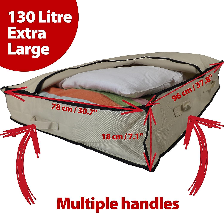 1 x 180 Liter Beige Neusu Starke Unterbett-Aufbewahrungstaschen 2x 130 Liter Kingsize-Bett-Pack