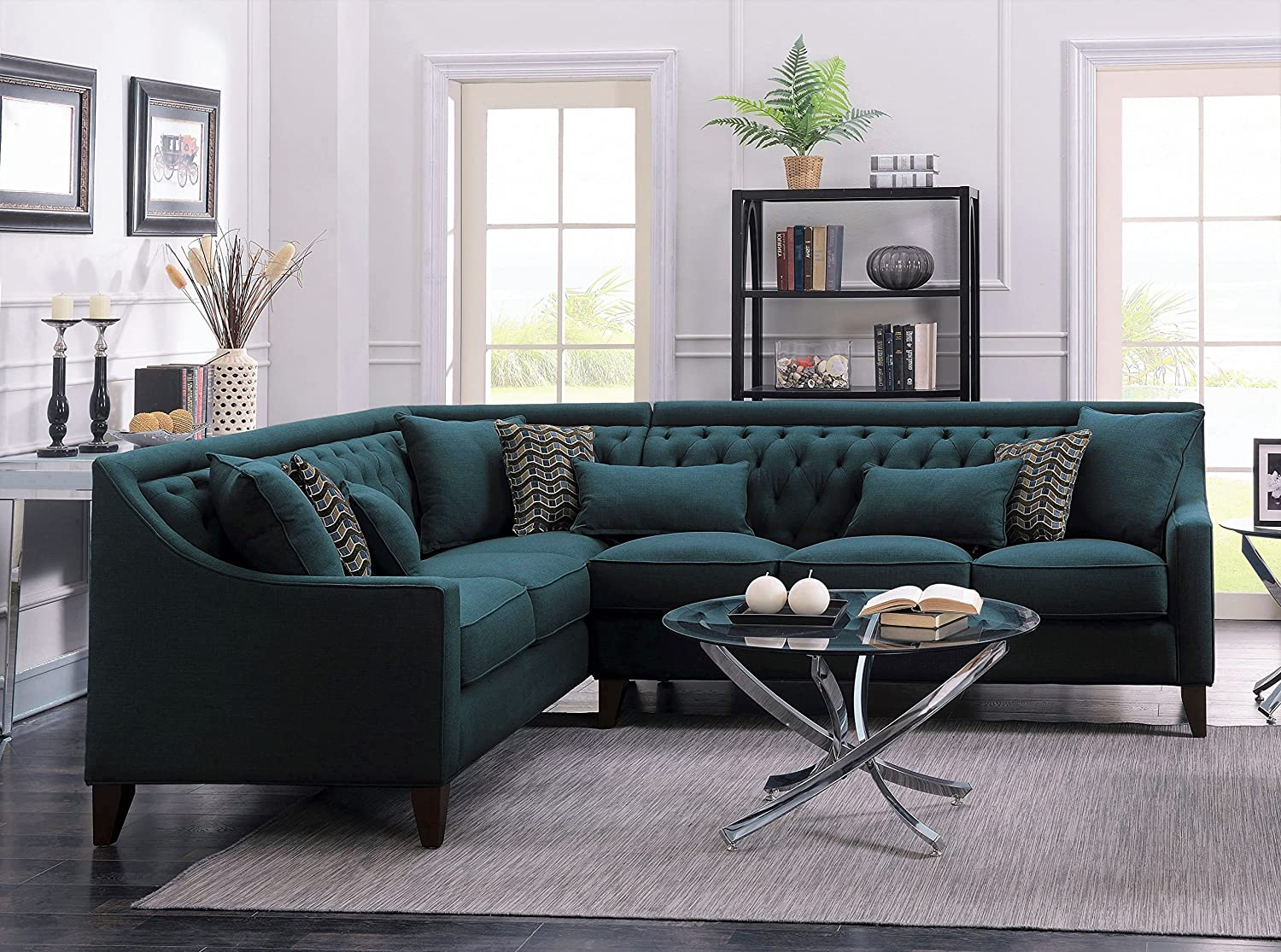 Iconic Home Chic Home Aberdeen Linen Tufted Down Mix Modern Contemporary Left Facing Sectional Sofa, Teal,