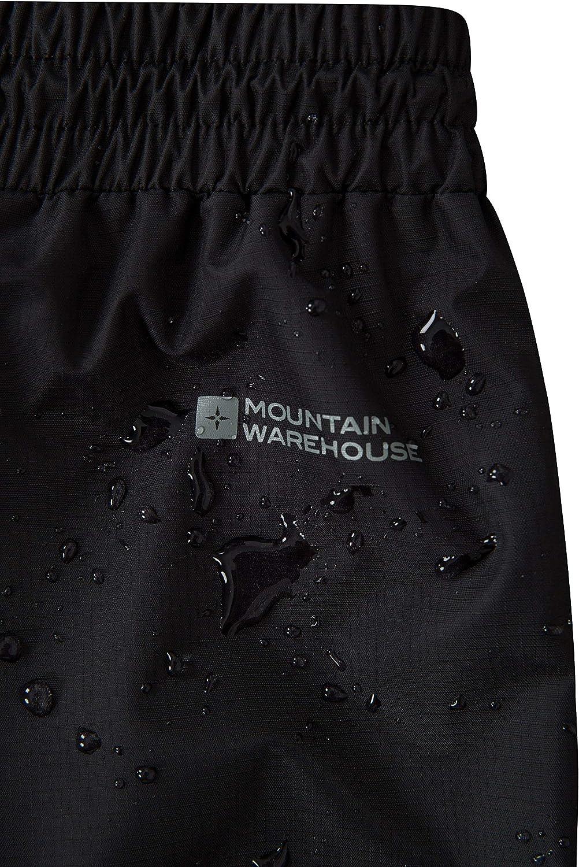 Mountain Warehouse Downpour Wasserfeste Überhose Für Damen Atmungsaktiv Versiegelte Nähte Mit Reißverschluss Am Bein Für Reisen Zum Bergsteigen Wandern Frühling Schwarz 30 Bekleidung