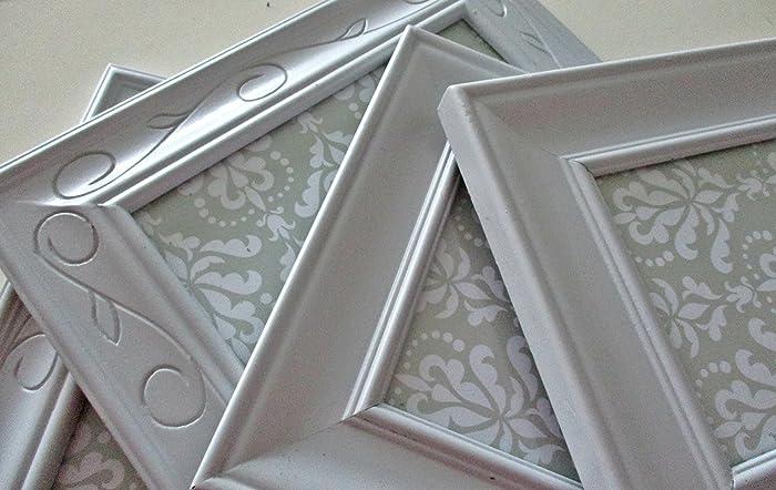 Amazoncom Vintage Hanging Picture Frames Grey Wooden Frames
