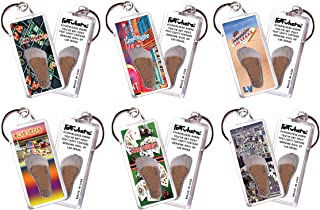 product image for Las Vegas FootWhere Keychains. 6 Piece Set. Authentic Destination Souvenir acknowledging Where You've Set Foot. Genuine Soil of Featured Location encased Inside Foot Cavity. Made in USA