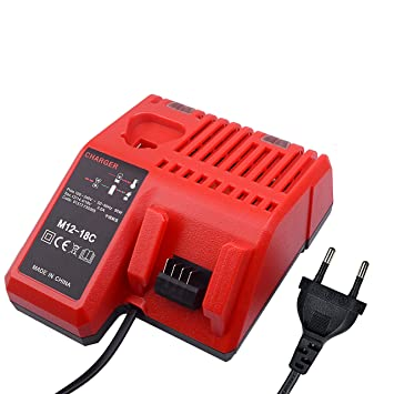 Reemplazo de Milwaukee M12 M18 Multi Voltage Cargador de batería 12V 14.4V 18V M12-18C C1418C M14 Cargador rápido de doble puerto Milwaukee 48-11-1840 ...