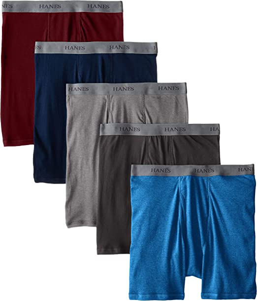 Hanes Mens 5-Pack Boxer with ComfortFlex Waistband Brief Black//Grey Large