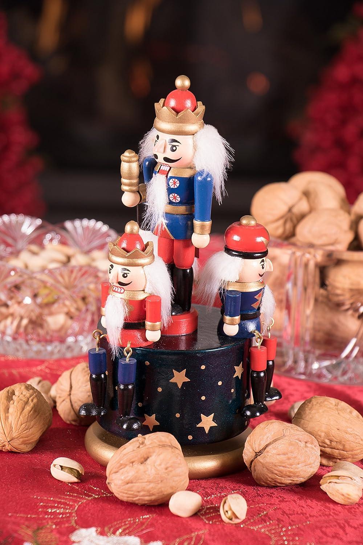 Carillon con schiaccianoci in Legno Rosso e Oro Decorazione Natalizia per Tavolo//mensola re e Soldati Altezza 20 cm Blu Clever Creations