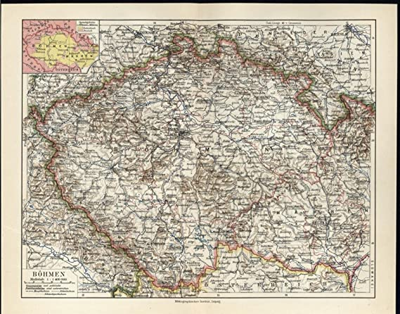 Map Of South Germany.Bohemia South Germany Elbe River C 1927 Antique Color Lithograph Map
