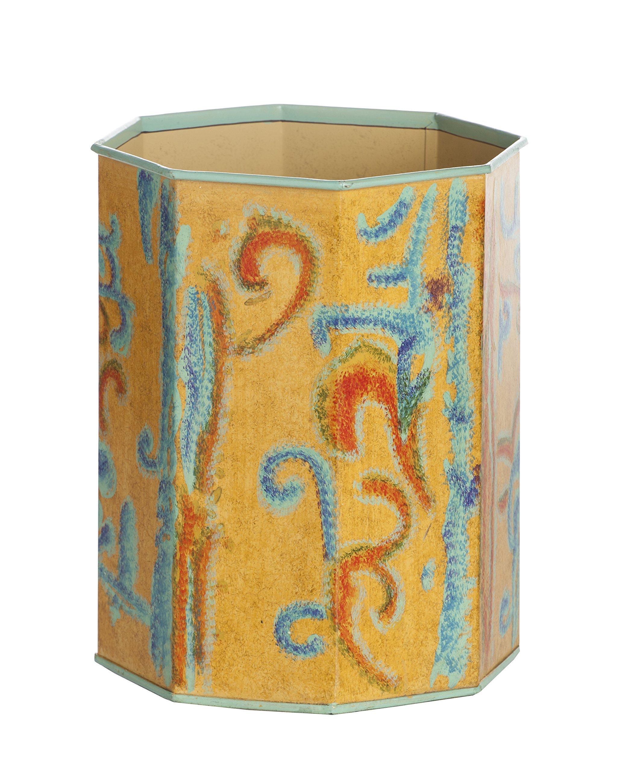 Abigails Kashmir Octagon Waste Bin, Daffodil Yellow