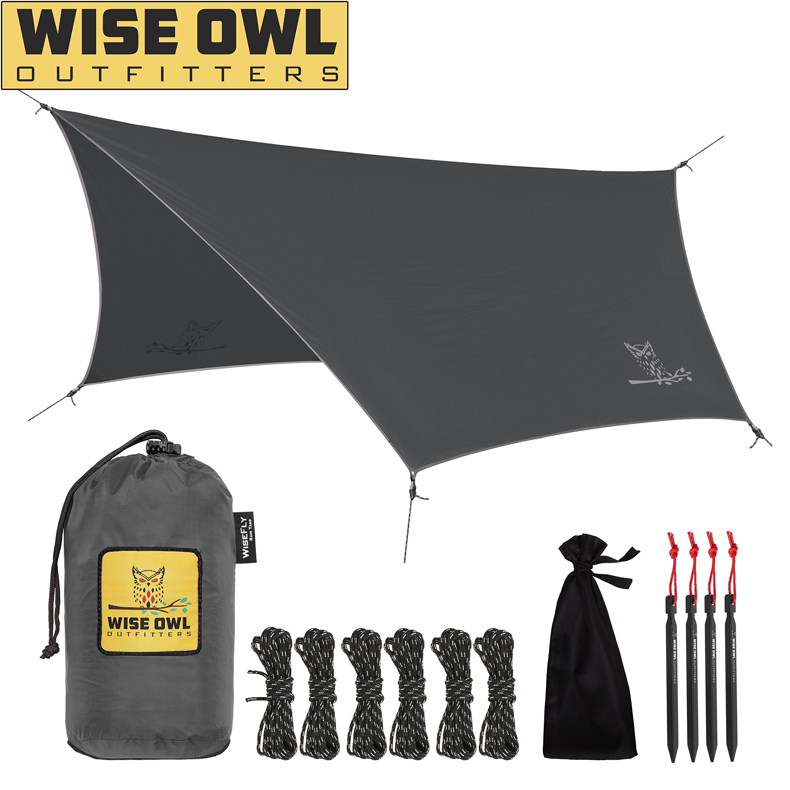 Wise Owl Outfitters Hammock Rain Fly Tent Tarp - The WiseFly Premium 11 x 9 ft Large Hex Waterproof Ripstop Nylon Camping Shelter Canopy Rainfly - Lightweight Camp Gear Accessories - Grey by Wise Owl Outfitters
