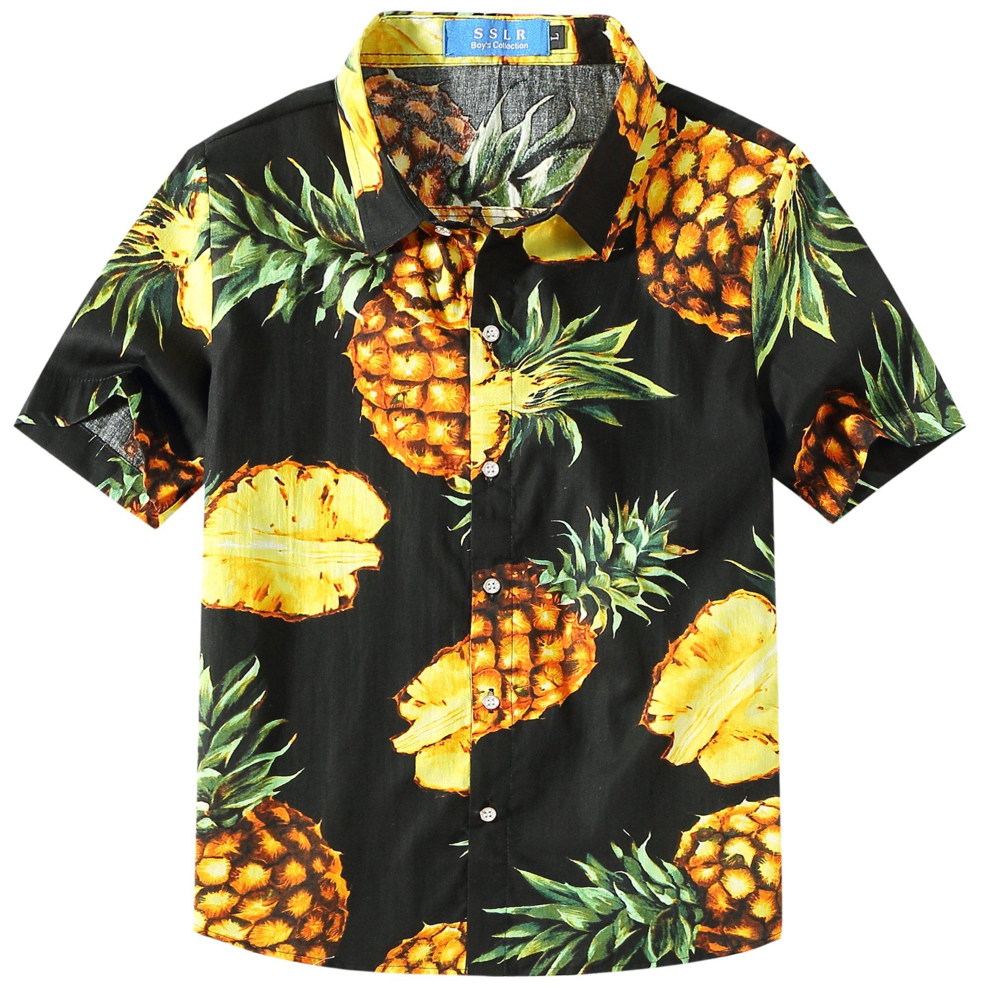 SSLR Big Boy's Pineapple Button Down Short Sleeve Hawaiian Shirt (Small(8), Black)