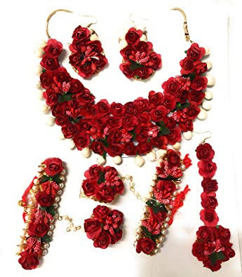 12ff1b001 Buy AGAAS ENTERPRISES Pink Gota and Fabric Rose Flower Jewellery Set with  Earrings, Maang Teeka and Bracelets for Women Online at Low Prices in India  ...
