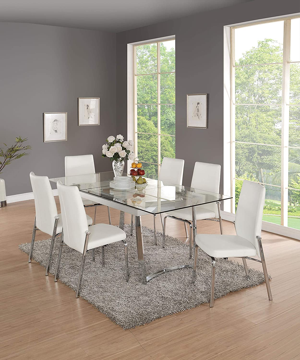 Amazon.com - Acme Furniture Osias Glass Dining Table, Chrome ...