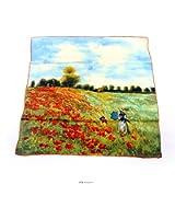 Aqueena Women's 100% Luxury Charmeuse Satin Square Silk Scarf Oil Paintings