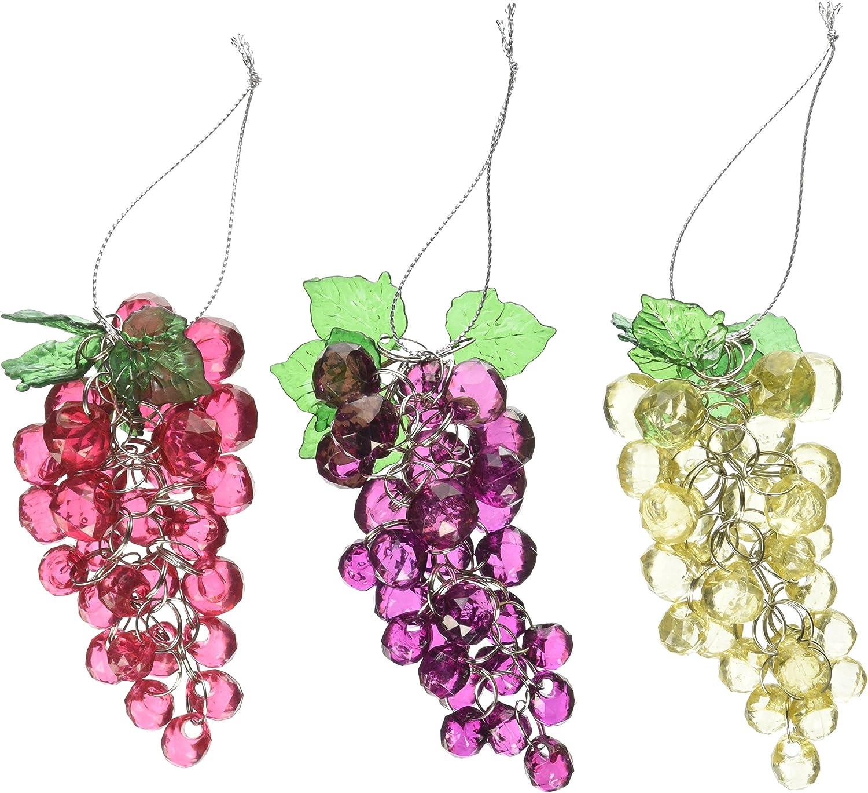 Amazon Com Kurt Adler 4 Inch Beaded Grapes Ornament Set Of 3 Home Kitchen