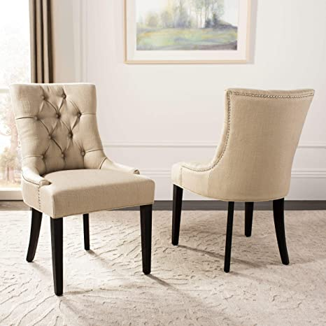 Safavieh Mercer Collection Heather Dining Chairs Antique Gold Set Of 2 Furniture Decor