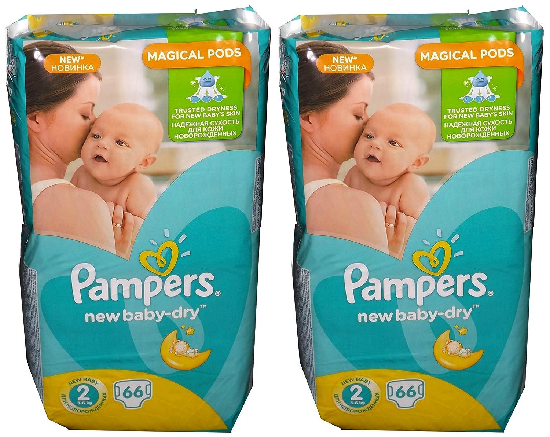 132 (2x66) Pampers Windeln New Baby-Dry Gr. 2, 3-6 Kg, Baumwolle weich Procter & Gamble