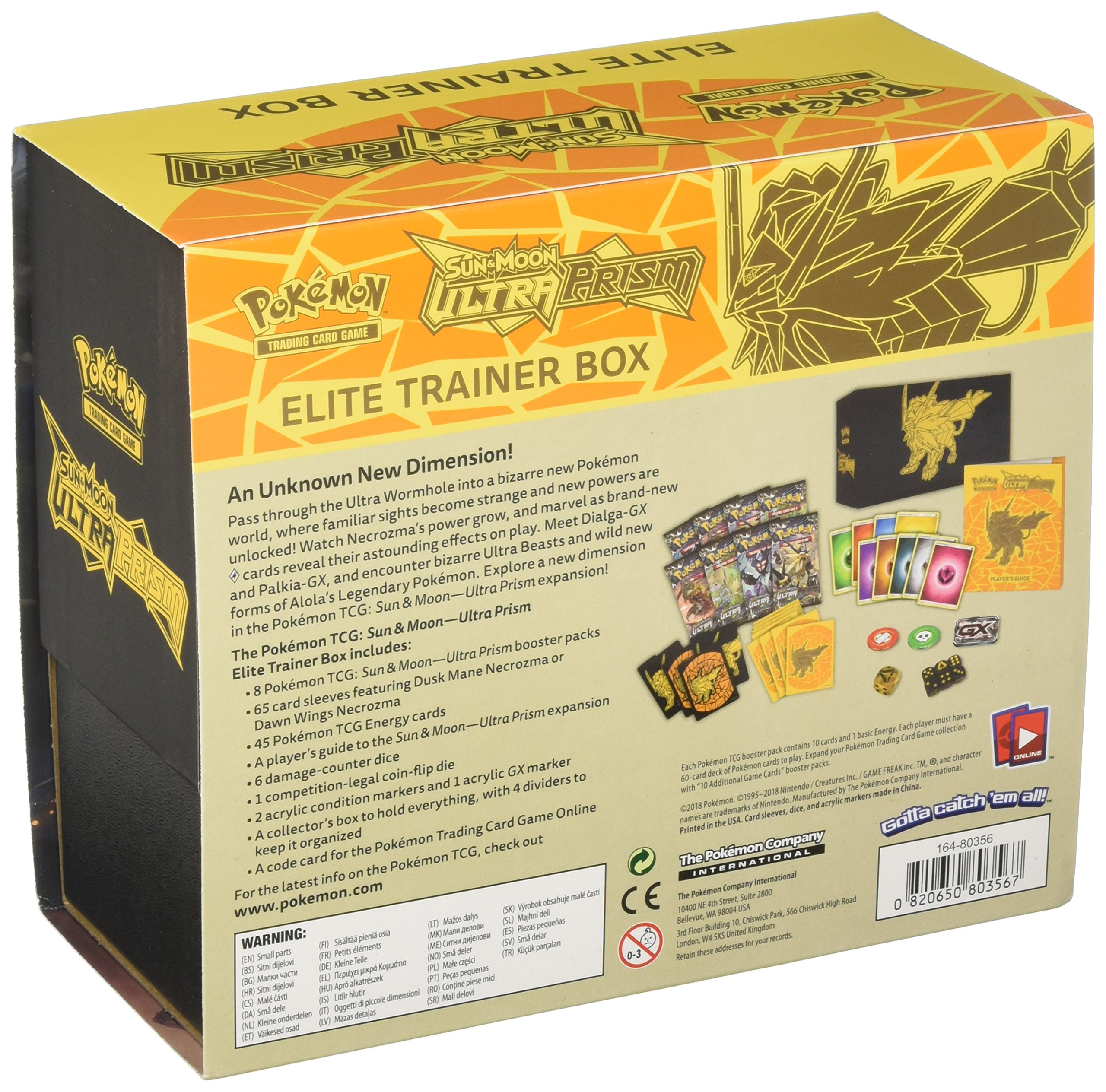 Pokemon TCG Sun and Moon Ultra Prism Necrozma Elite Trainer Box Dusk Mane Card and Dice Set With 8 Booster Packs, Player's Guide, 6 Damage Counter Dice, Competition Coin Flip Die & More by Pokemon (Image #2)