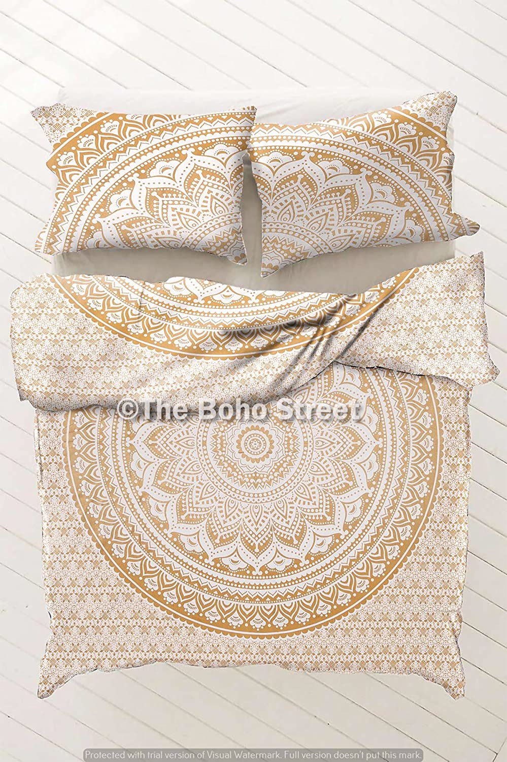 Indian Reversible Duvet Cover Quilt Cover Coverlet Bohemian Doona Cover Handmade 82 x 92 The Boho Street Range of Queen Size 100/% Cotton Duvet Cover Sets with Pillow Covers