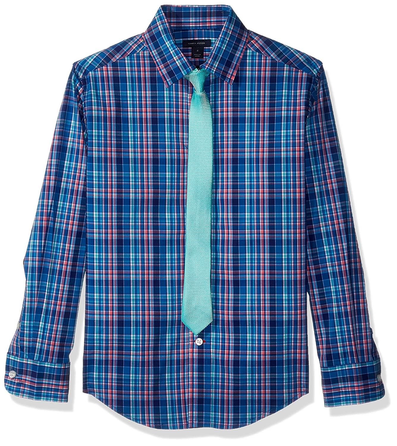 Tommy Hilfiger Boys Long Sleeve Dress Shirt with Tie