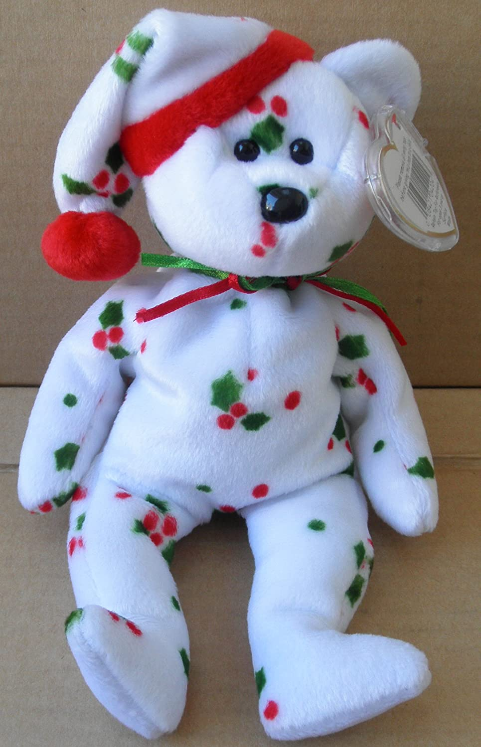 59e759d7d1b Amazon.com  TY Beanie Babies 1998 Holiday Teddy Bear Stuffed Animal Plush  Toy - 8 1 2 inches tall - White with Holly Leaf Design and Santa Hat   Everything ...