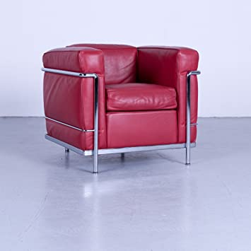 Cassina Le Corbusier LC 2 – Sillón de piel rojo monoplaza silla piel # 4966 ligero