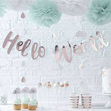 Ginger Ray Rose Gold Hello World Scripted Baby Shower Unisex Bunting