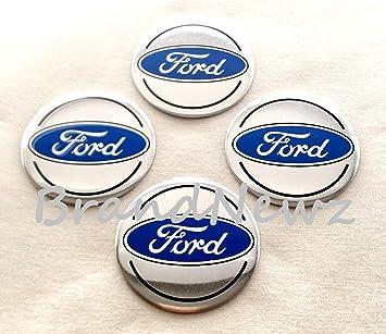 Emblema de Ford para centro de tapacubos, cromados, logo azul oscuro, adhesivos, 55 mm, juego de 4: Amazon.es: Coche y moto