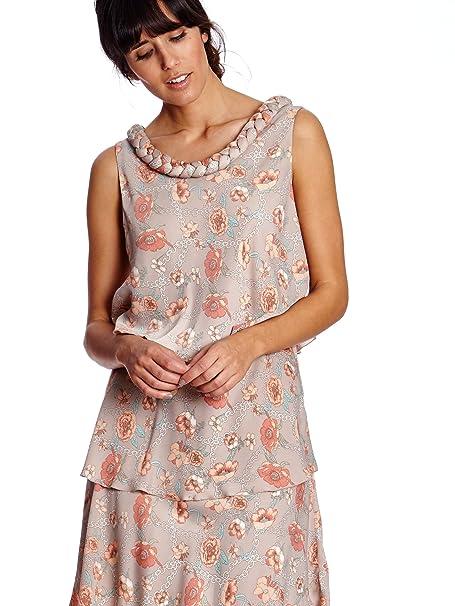 Cortefiel Vestido Capas Beige/Rosa XL