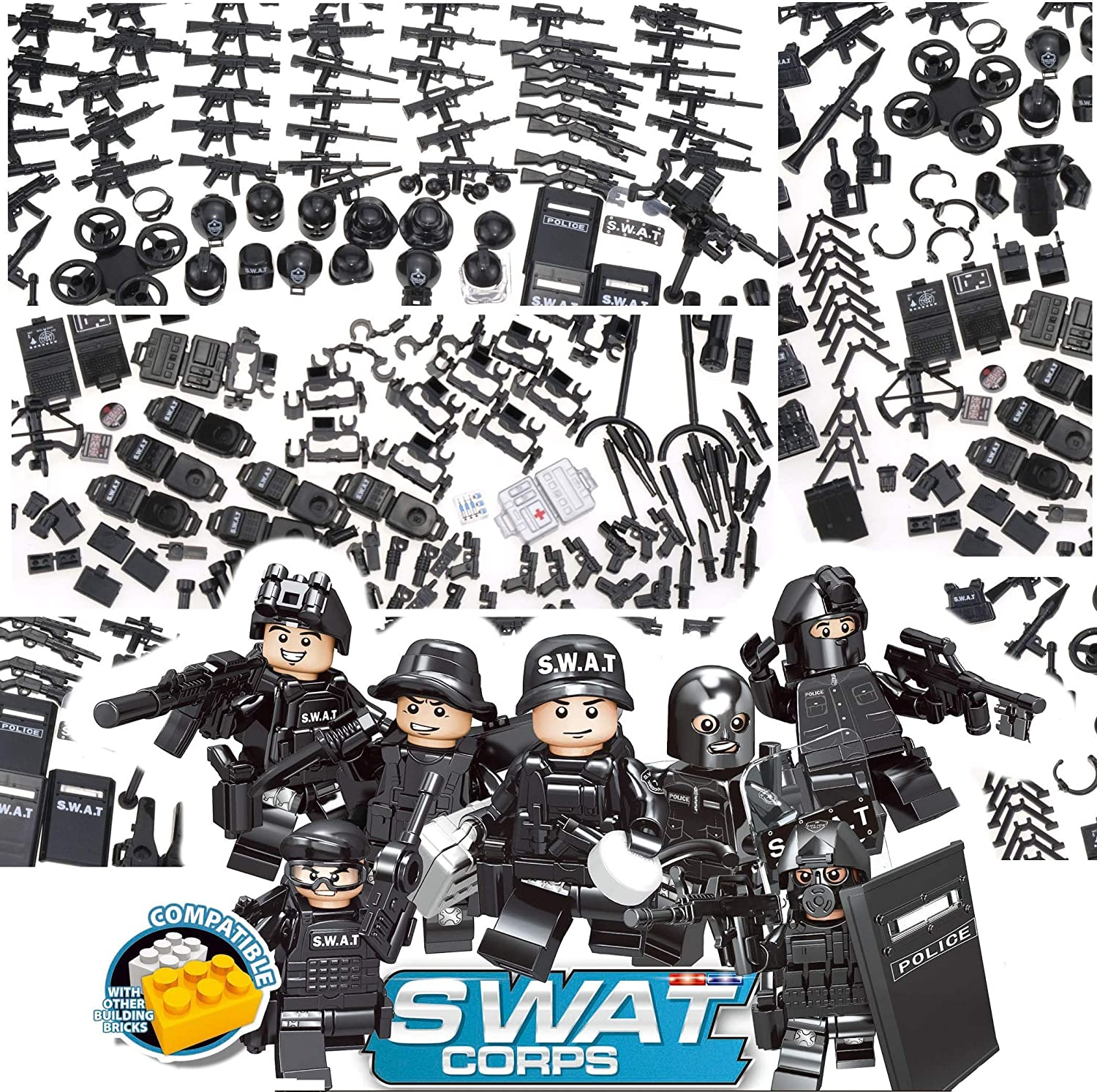 SWAT Special Forces Heavy Armor Juggernaut 5 Squad Custom Minifigures USA SELL