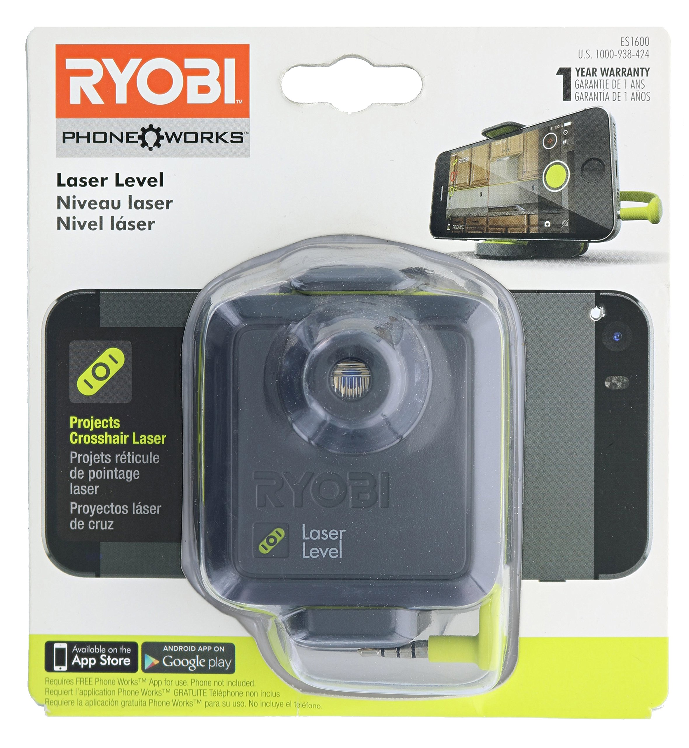 Ryobi ES1600 Phone Works Crosshair Laser Level with App Download and Tripod Clip (Tripod and Cell Phone Not Included)