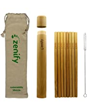 Zenify Bamboo Reusable Straws Set of 8 x 20cm with Case, Travel Bag, Cleaning Brush - Alternative to Plastic, Metal, Glass, Paper, Silicone, Pyrex, Stainless Steel Drinking Straw - 100% Biodegradable, Eco-Friendly, Enviro-Friendly, Compostable, Organic, Vegan, Recyclable Birthday Gift Box