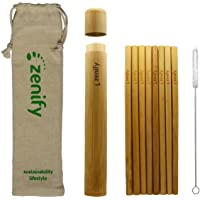 Zenify Bamboo Reusable Straws Set 8x20cm & Case Travel Bag + Cleaner Brush, Biodegradable Eco Friendly Compostable Drinking Straw Gift Alternative to Plastic Metal Glass Paper Silicone Stainless Steel