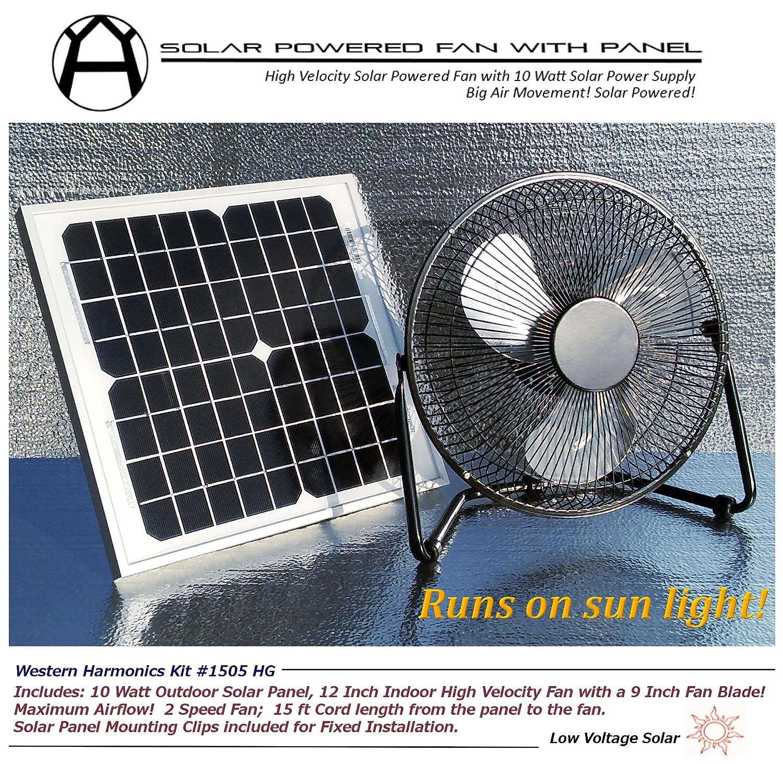 Solar Power Fan >> Amazon Com Western Harmonics 12 Inch Solar Powered High Velocity