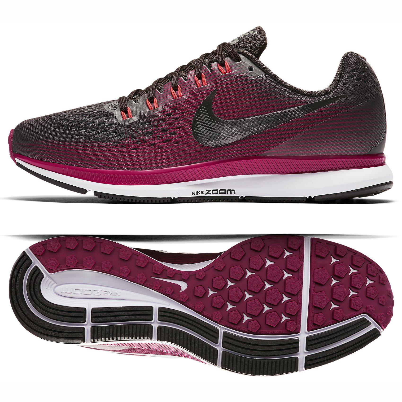 f32d5f782d6b8 Galleon - Nike Women s Air Zoom Pegasus 34 Running Shoe (Gem) Shadow Brown Metallic  Pewter Rush Maroon (8)