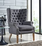 TOV Furniture The Abe Collection Classic Linen Upholstered Solid Oak Living Room Wing Chair, Grey