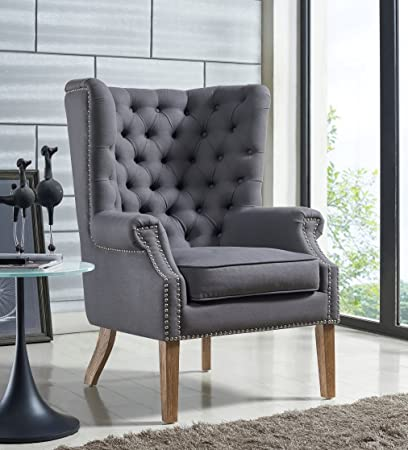 Tov Furniture Abe Linen Wing Chair, Grey