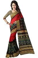 Glory Sarees Cotton Silk Saree (Gloryart02_Red And Black)