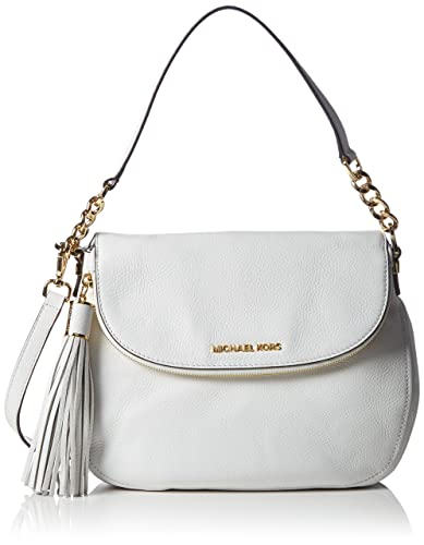 4f128e0ec749b6 Michael Kors Women's Bedford Tassle Medium Convertible Shoulder Bag  Shoulder Bag White Weiß (Optic White