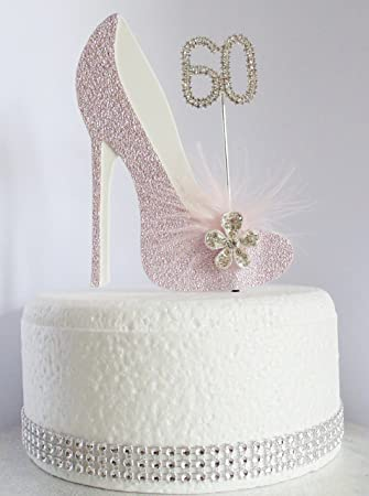 60th Pink And White Birthday Cake Decoration Shoe With Feathers Crystal Flower Embellishments Diamante Number Non Edible Feather 60