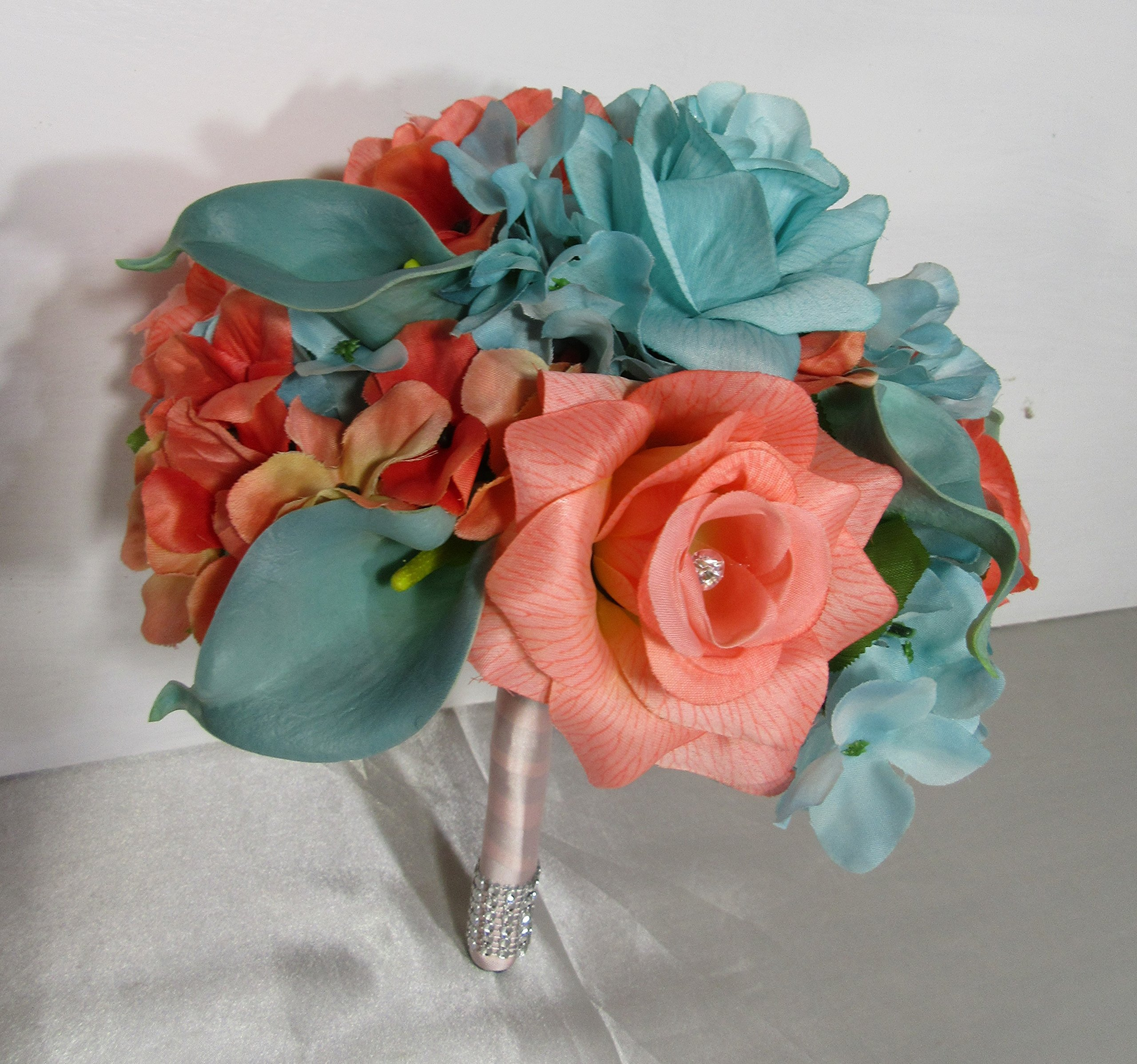 Light Pink Rhinestone Rose Calla Lily Bridal Wedding Bouquet /& Boutonniere
