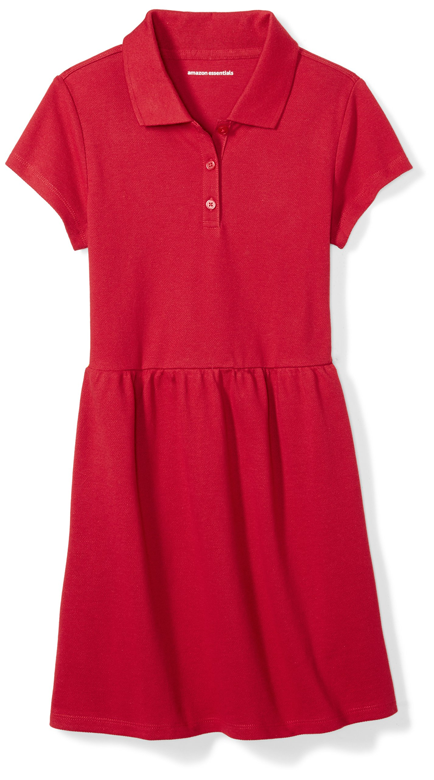 Amazon Essentials Girls' Short-Sleeve Polo Dress, Scooter Red, M (8)