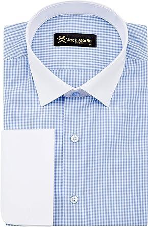 Jack Martin London - Camisa de cuadros con doble puño y ajuste entallado, color azul: Amazon.es: Ropa y accesorios