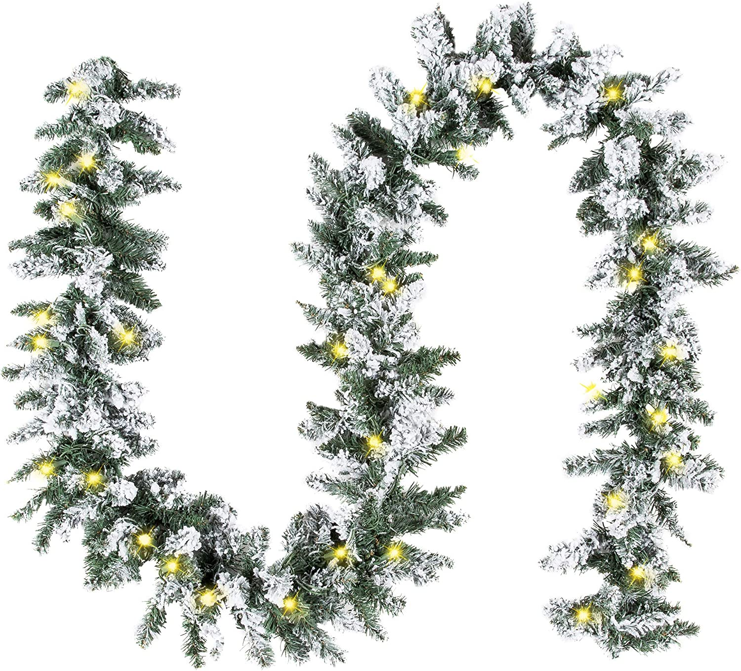 Best Choice Products 9ft Pre-Lit Snow Flocked Artificial Christmas Garland Decoration w/ 100 Clear LED Lights - Green