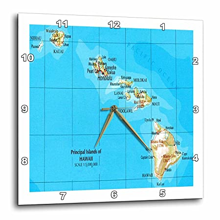 3dRose DPP_41576_3 Map of Hawaiian Islands Wall Clock, 15 x 15