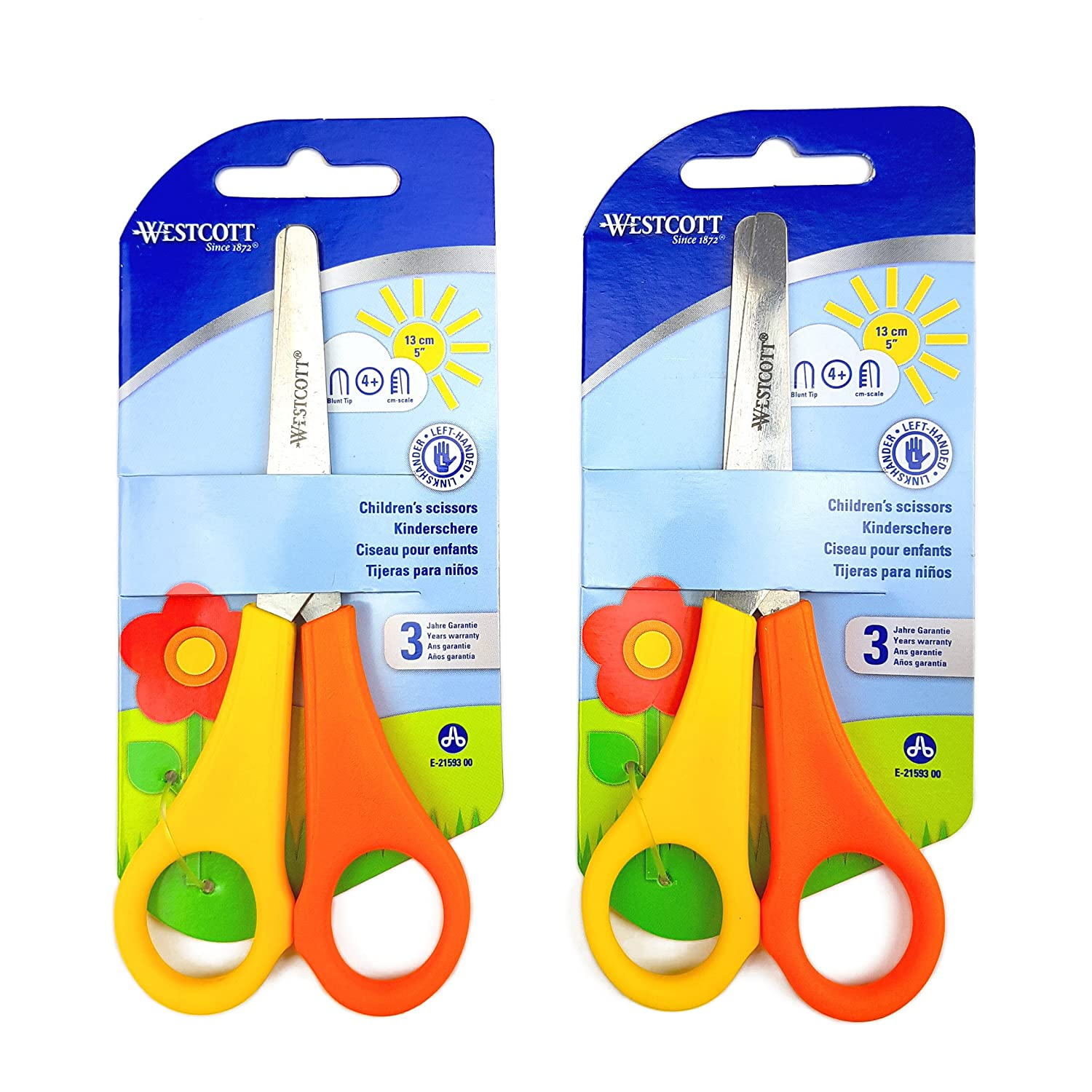 2 x Childrens Kids Left Handed Scissors with Ruler Edge Westcott Branded